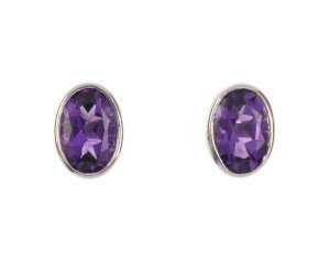 9ct White Gold 1ct Amethyst Solitaire Stud Earrings
