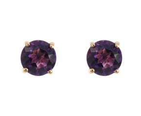 9ct Yellow Gold 0.95ct Round Amethyst Solitaire Stud Earrings