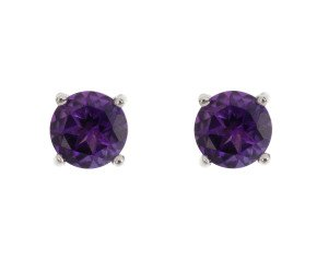 9ct White Gold 0.95ct Round Amethyst Solitaire Stud Earrings