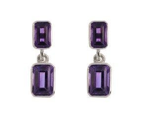9ct White Gold 1.10ct Amethyst Drop Earrings