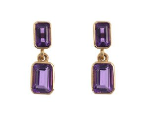 9ct Yellow Gold 1.20ct Amethyst Drop Earrings
