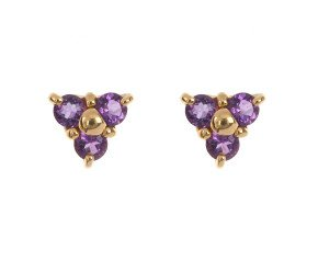 9ct Yellow Gold 0.25ct Amethyst Floral Cluster Earrings