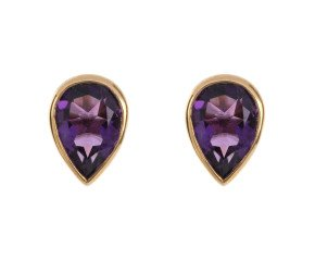 9ct Yellow Gold 1.35ct Amethyst Solitaire Rub Over Stud Earrings