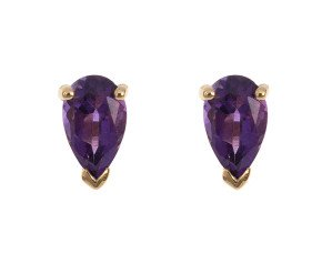 9ct Yellow Gold 0.50ct Pear Amethyst Solitaire Stud Earrings