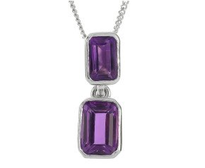 9ct White Gold 0.55ct Amethyst Double Drop Pendant