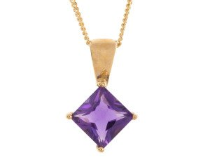 9ct Yellow Gold 0.65ct Amethyst Solitaire Pendant