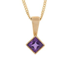 9ct Yellow Gold 0.10ct Amethyst Solitaire Rub Over Pendant