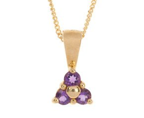 9ct Yellow Gold 0.25ct Amethyst Floral Cluster Pendant