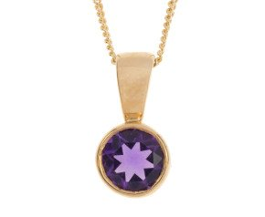 9ct Yellow Gold 0.65ct Amethyst Solitaire Rub-over Pendant