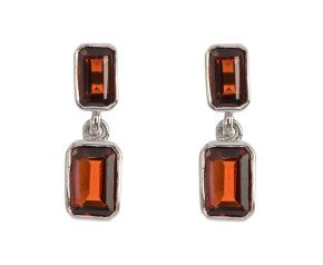 9ct White Gold 2.75ct Garnet Double Drop Earrings