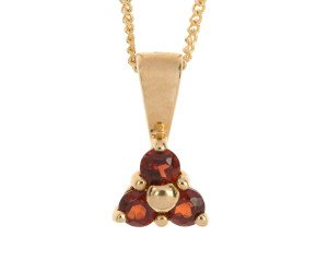 9ct Yellow Gold 0.12ct Garnet Floral Cluster Pendant