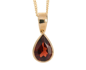 9ct Yellow Gold 0.10ct Pear Garnet Solitaire Rub Over Pendant