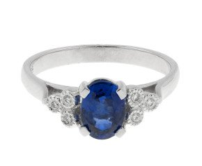 18ct White Gold 1.16ct Sapphire & Diamond Dress Ring