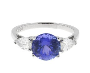 18ct White Gold 2.27ct Tanzanite & 0.55ct Diamond Dress Ring