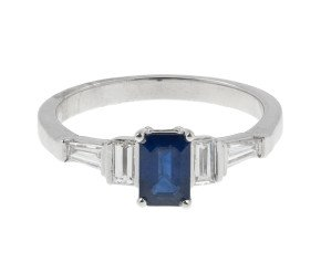 18ct White Gold 0.72ct Sapphire & 0.40ct Diamond Dress Ring