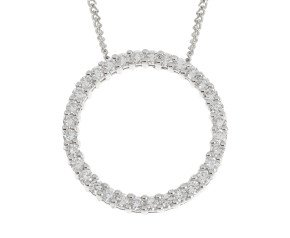 18ct White Gold 0.64ct Diamond Circle Pendant