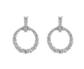 18ct White Gold 0.40ct Diamond Circle Drop Earrings