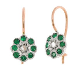 Handcrafted Italian Diamond & Emerald Floral Drop Earrings