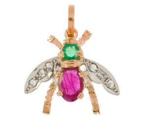 Handcrafted Italian 0.50ct Ruby, Emerald & Diamond Bee Pendant