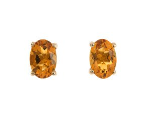 9ct Yellow Gold 0.88ct Oval Citrine Solitaire Stud Earrings