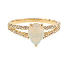 18ct Gold Opal & Diamond Dress Ring