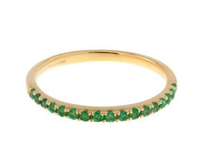 9ct Yellow Gold Emerald Half Eternity Ring