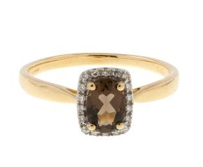 9ct Yellow Gold Diamond & Smokey Quartz Dress Ring