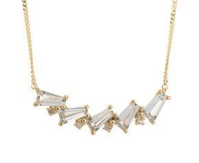 9ct Yellow Gold & Colourless Topaz Necklace