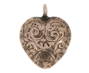 Antique Victorian Memorial Gold Heart Locket