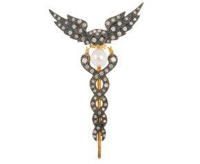 5.3mm Cultured Pearl & 0.30ct Diamond Caduceus Brooch