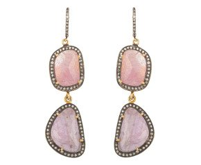 Glass-Filled Ruby & Colourless Sapphire Drop Earrings
