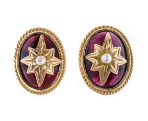 Pre-owned Victorian Inspired Garnet & Split Pearl Earrings
