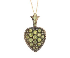 Victorian Inspired Peridot & 0.60ct Diamond Heart Locket