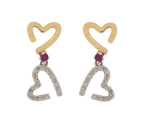 9ct Yellow Gold Diamond & Ruby Double Drop Heart Earrings