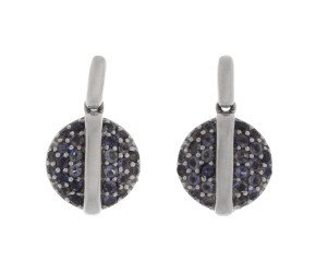 9ct White Gold Sapphire Cluster Drop Earrings