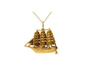 Vintage 1960's 9ct Yellow Gold Ship Pendant