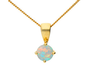 9ct Yellow Gold Round Opal Solitaire Pendant