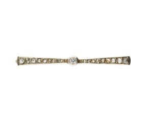 Antique Art Deco Platinum & Gold 0.25ct Diamond Brooch