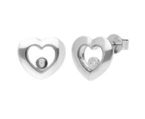 9ct White Gold Floating Diamond Heart Stud Earrings