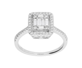 18ct White Gold 0.70ct Diamond Cluster Dress Ring
