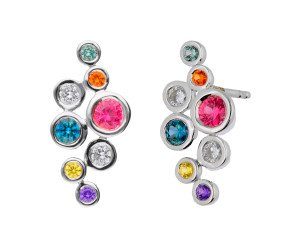 18ct White Gold 0.53ct Rainbow Sapphire & 0.15ct Diamond Fancy Bubble Earrings