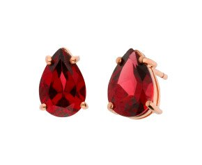 9ct Rose Gold 2.60ct Pear Shaped Garnet Solitaire Earrings
