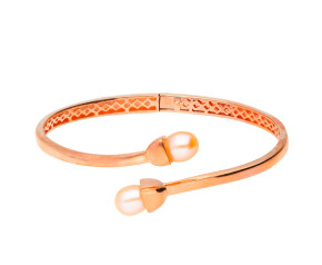 Sterling Silver & 18ct Rose Gold Vermeil Snowdrop Bangle
