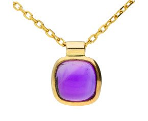 9ct Yellow Gold Amethyst Solitaire Pendant