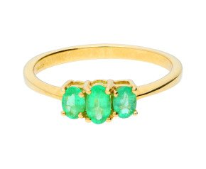 9ct Yellow Gold 0.50ct Emerald Trilogy Ring