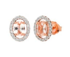 9ct Rose Gold 6mm Morganite & Diamond Cluster Oval Shape Stud Earrings
