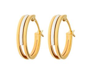 9ct Yellow & White Gold Fancy Hoop Earrings