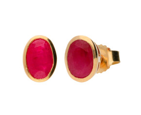 9ct Yellow Gold 1.00ct Ruby Solitare Stud Earrings