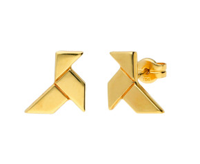 9ct Yellow Gold Origami Bird Stud Earrings