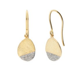 9ct yellow Brushed Gold & Diamond Drop Earrings